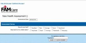 FAMCare health assessment form