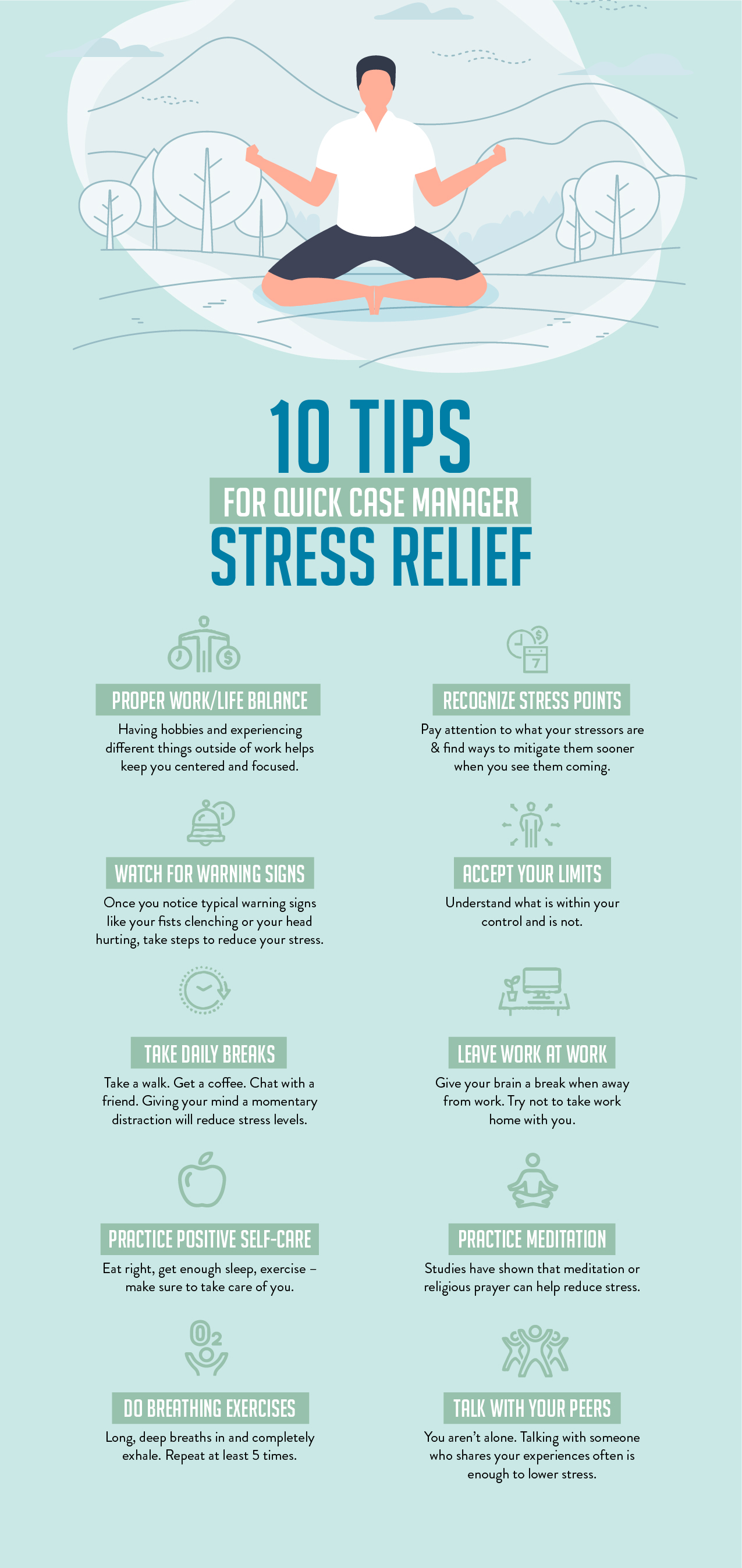 10 Tips for Quick Case Manager Stress Relief Infographic